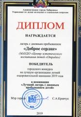 """""""Доброе сердце"""" - лучший лагерь-2019"""